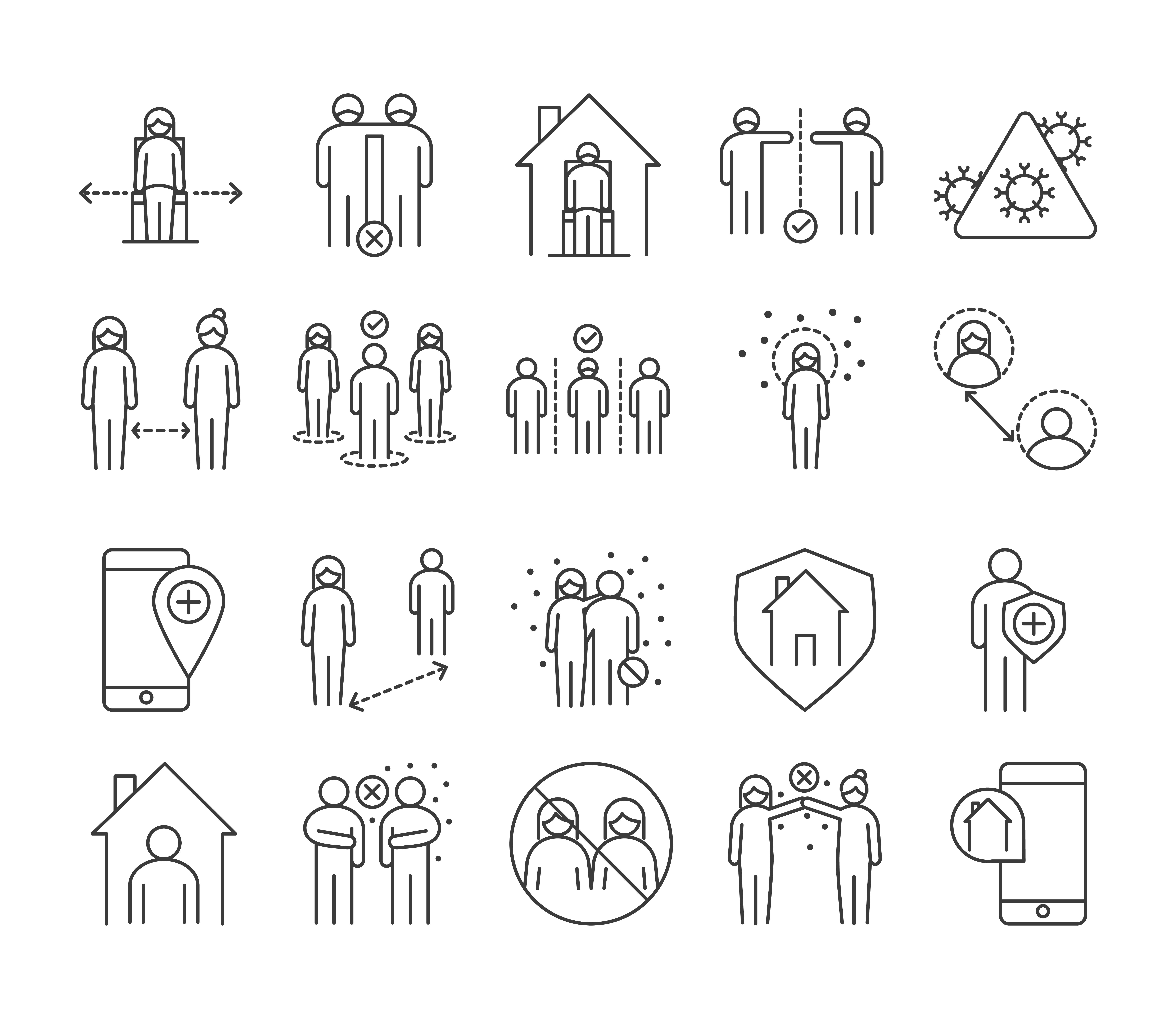 paquete de iconos de pictogramas de infección viral y distancia social
