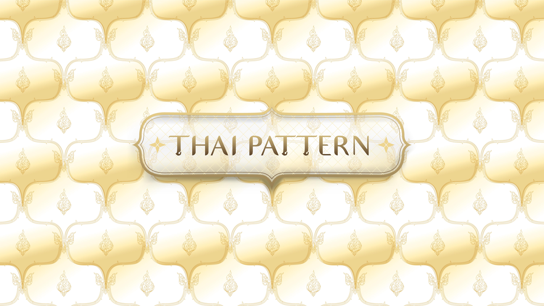 patrón tailandés tradicional dorado abstracto con marco