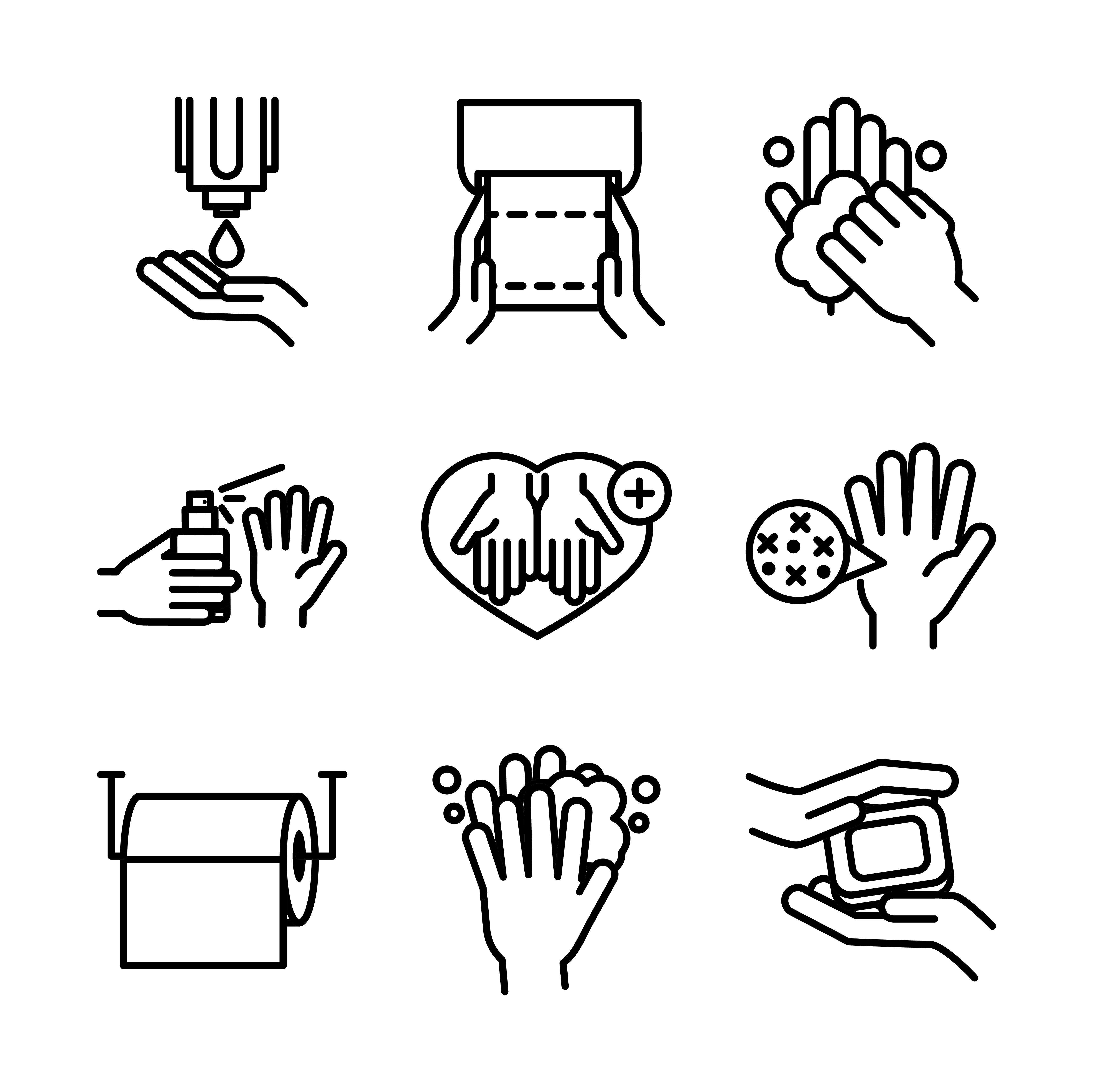 Jeu d'icônes de pictogramme d'hygiène des mains et de contrôle des infections vecteur