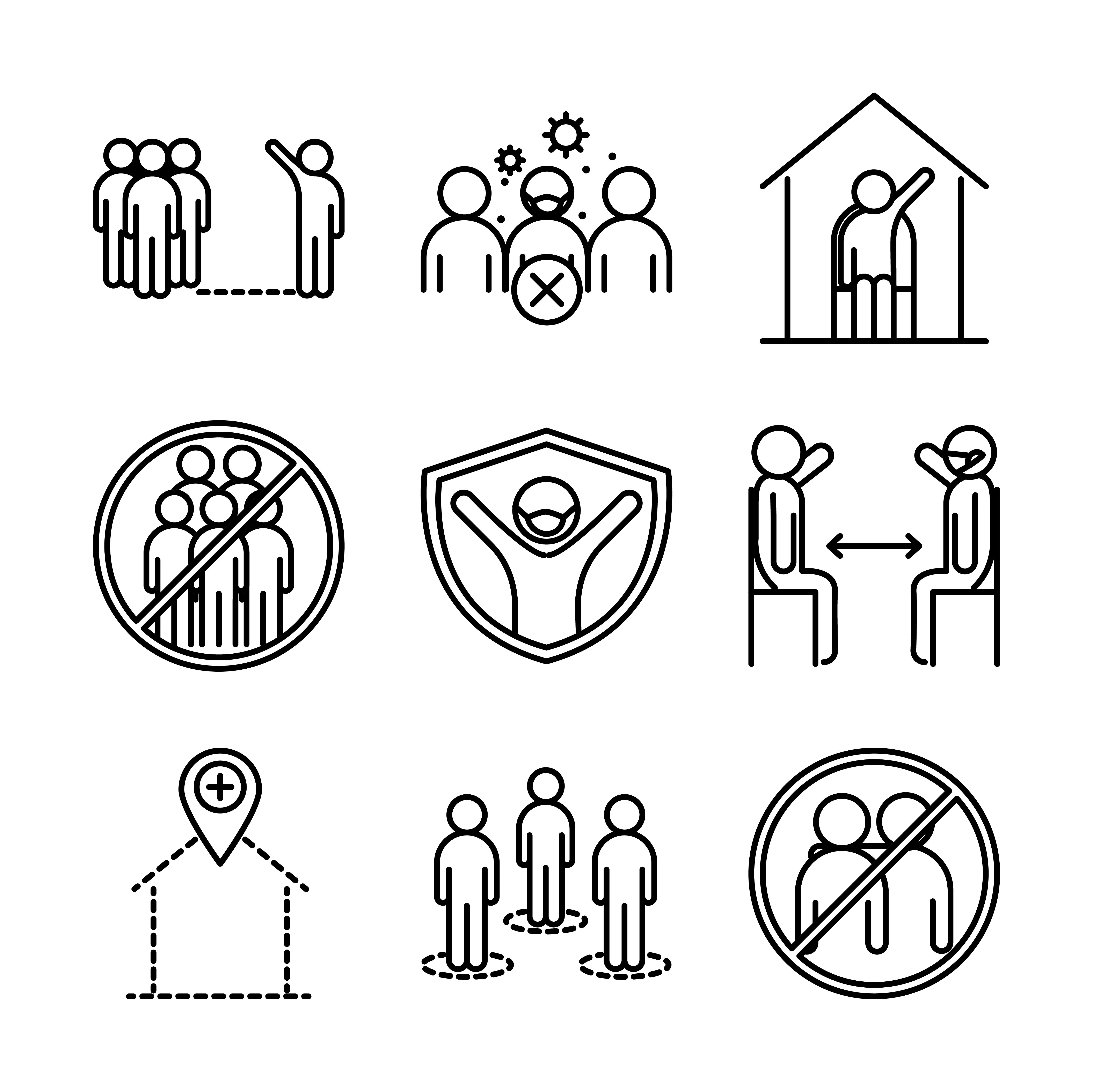 Infección viral y conjunto de iconos de pictograma de distancia social