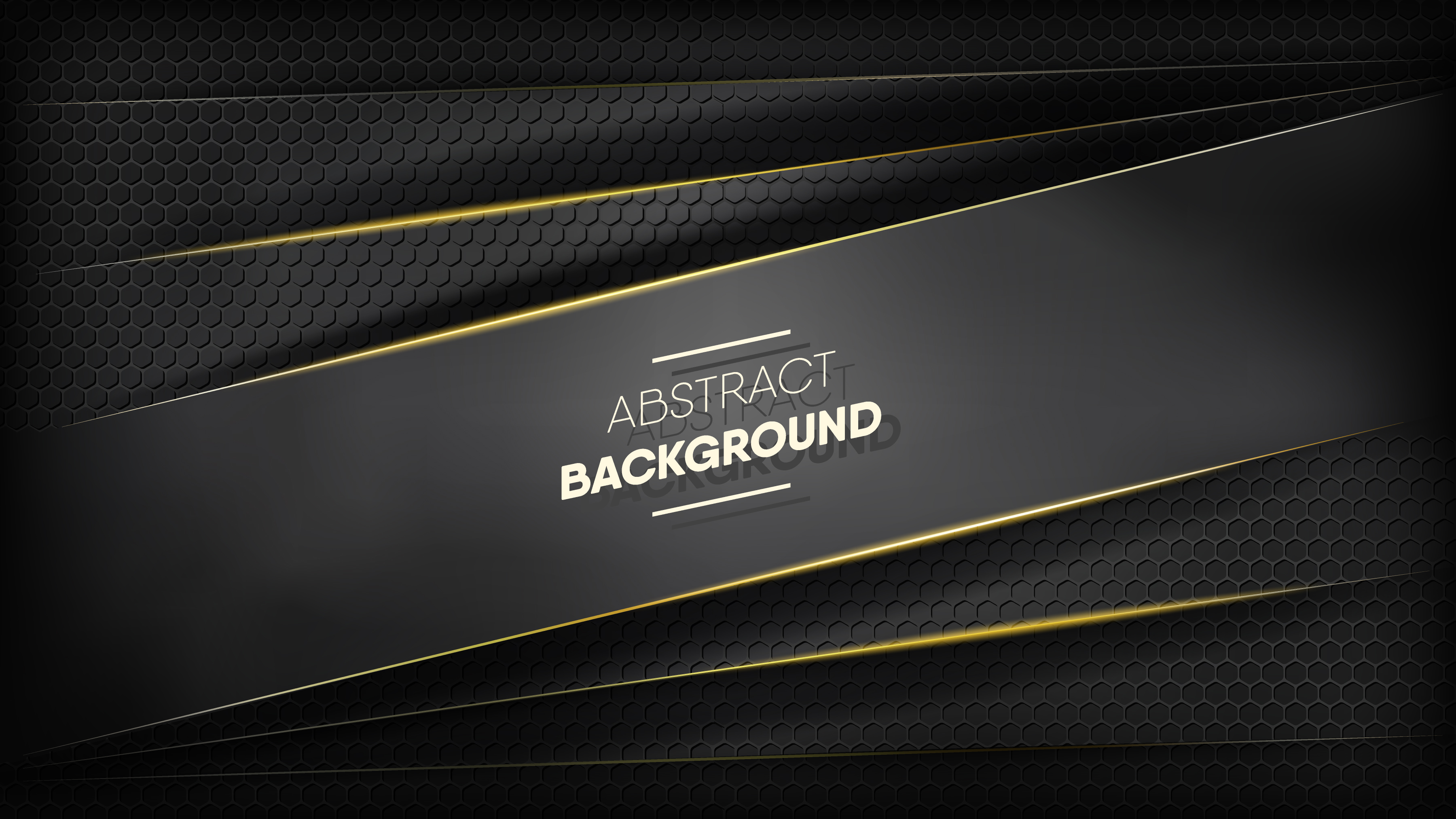 Black paper stripes with gold edges on honeycomb pattern vector