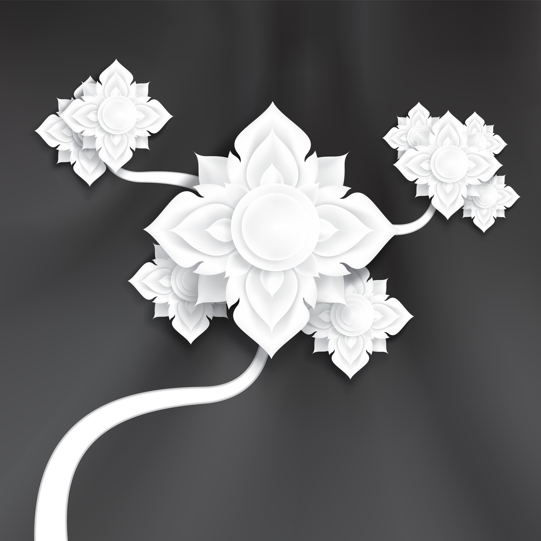 fleurs d'art papier traditionnel abstrait sur texture de soie noire vecteur