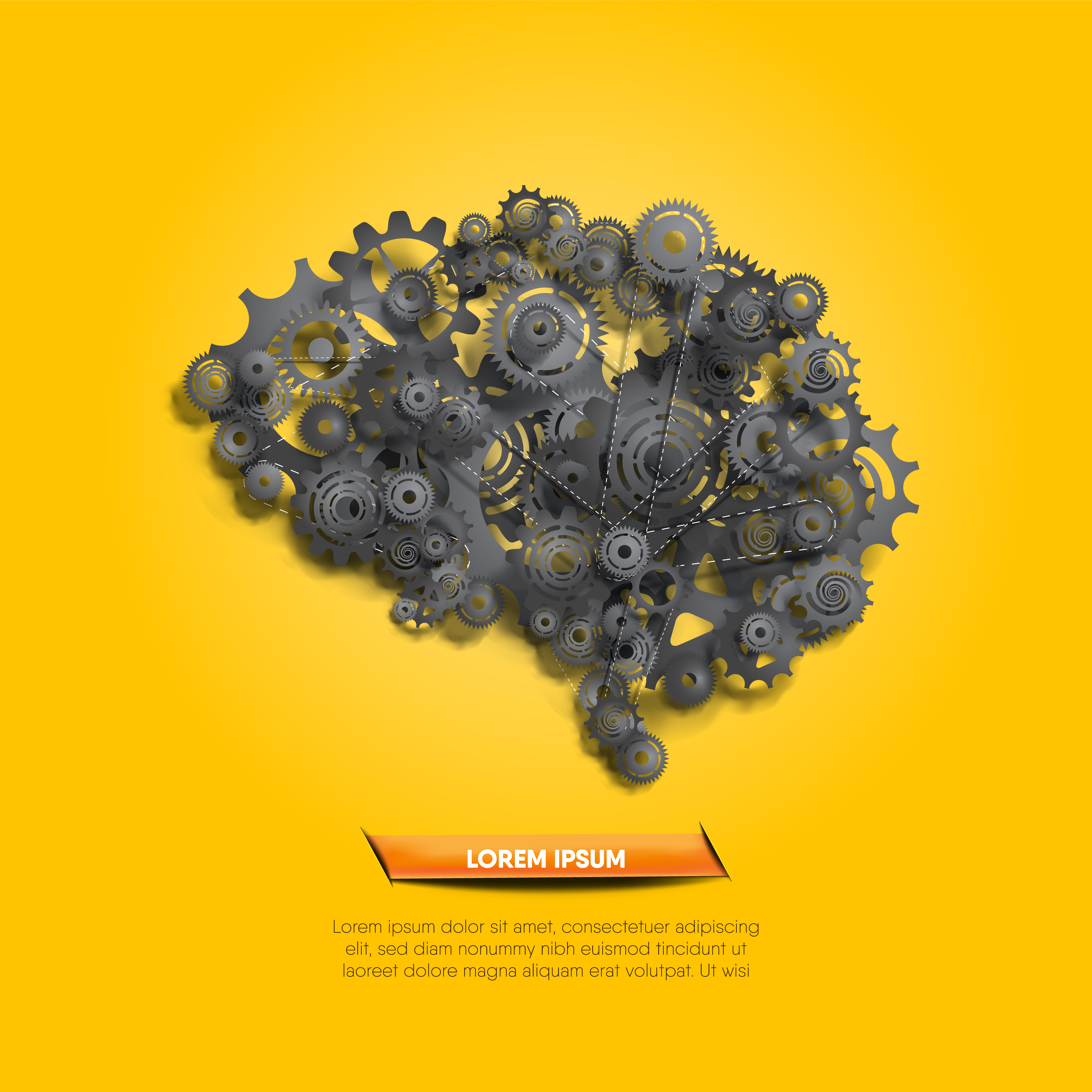 Abstract brain made of black gears and cogs vector