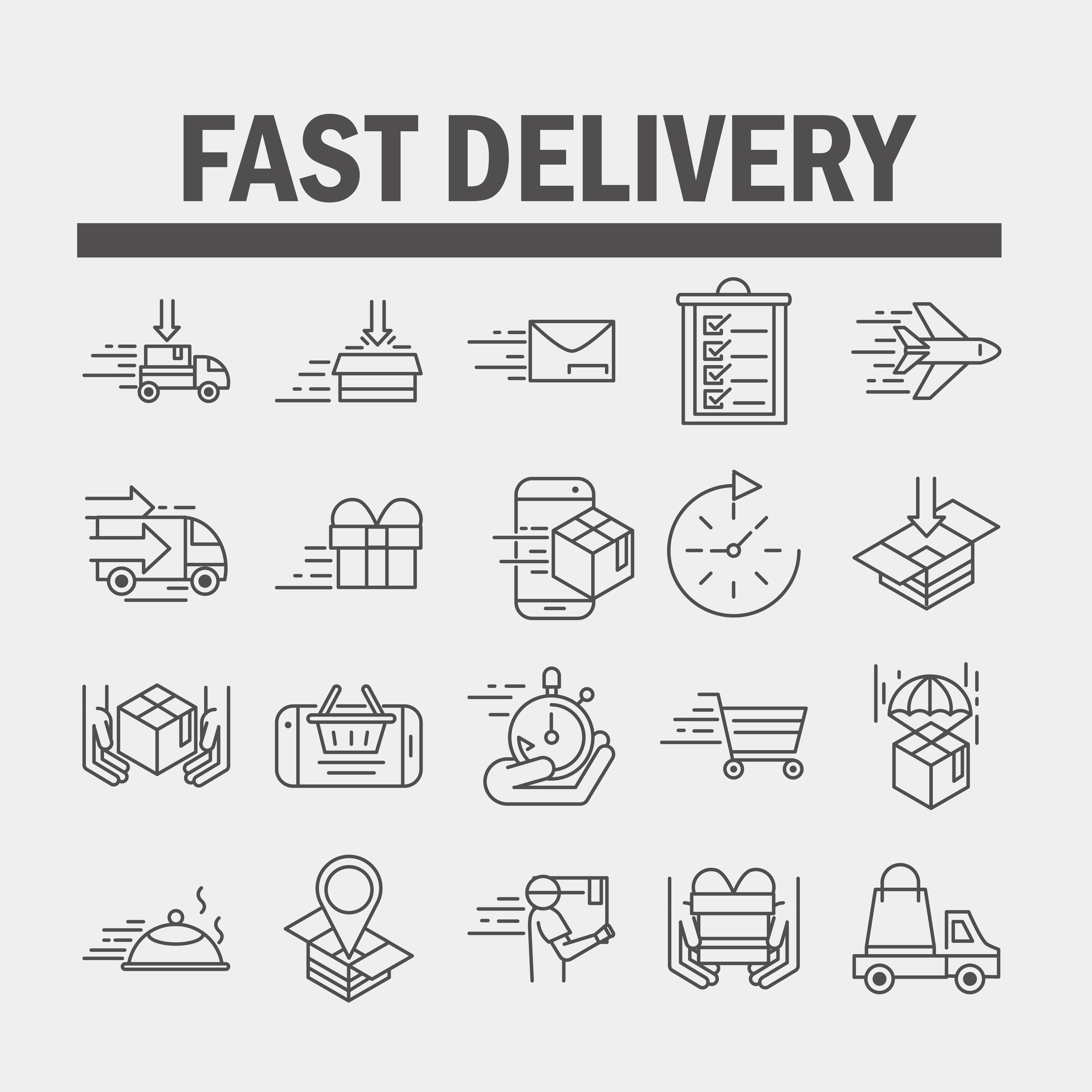 Express and fast delivery icon set