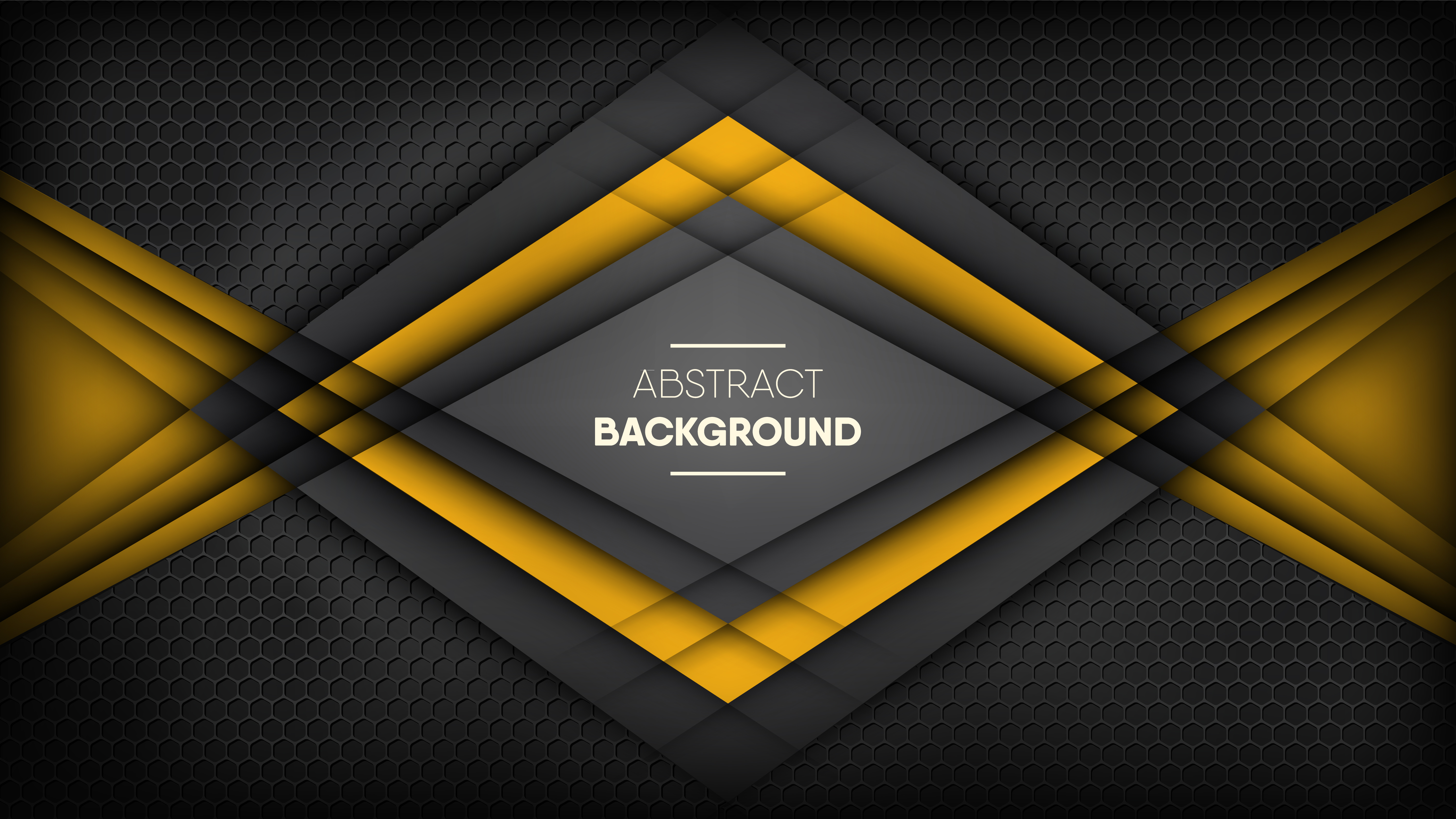 Black and yellow stripes on metallic black honeycomb vector