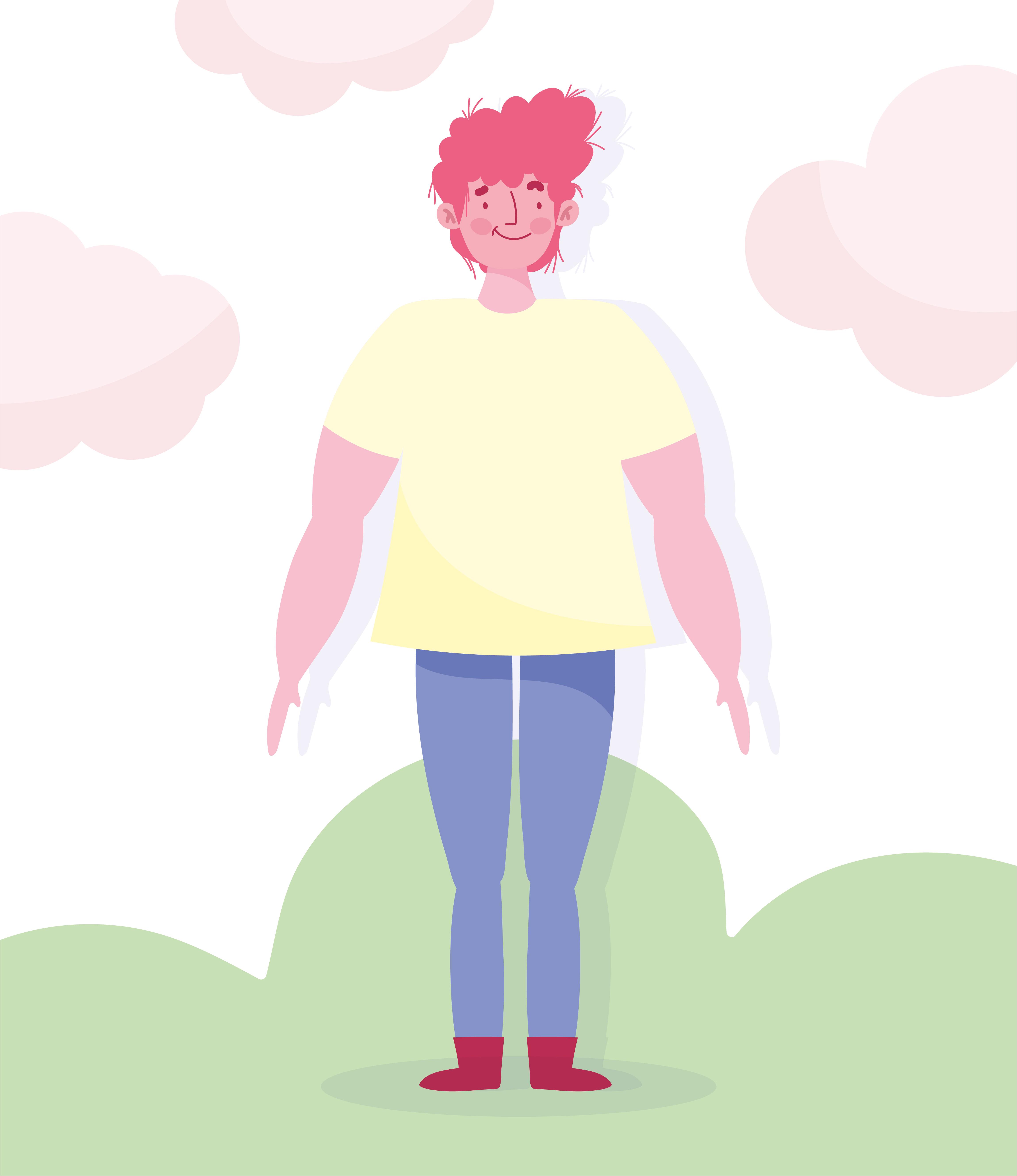 personaje masculino de pie al aire libre