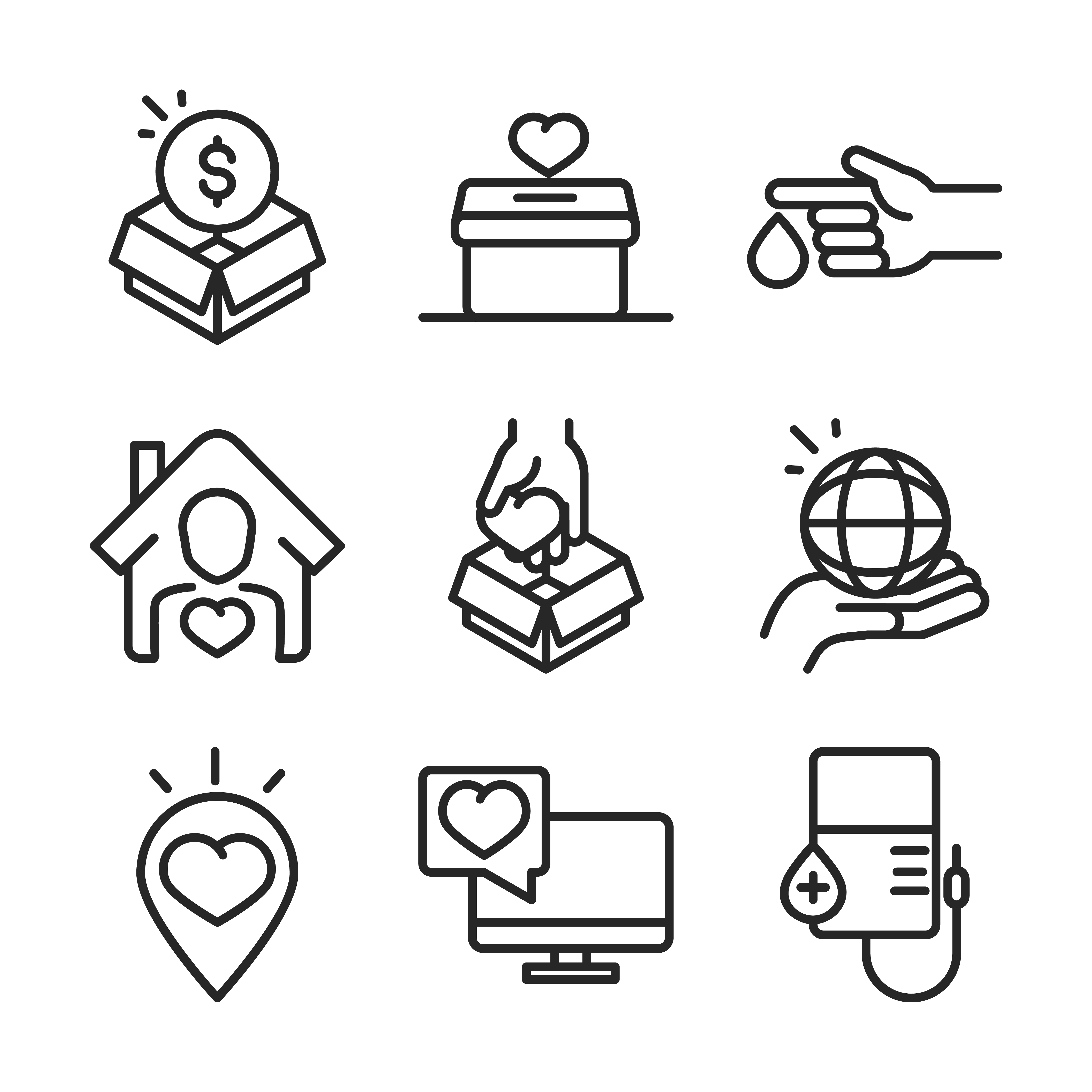 Donation and charity fundraiser icon collection  vector
