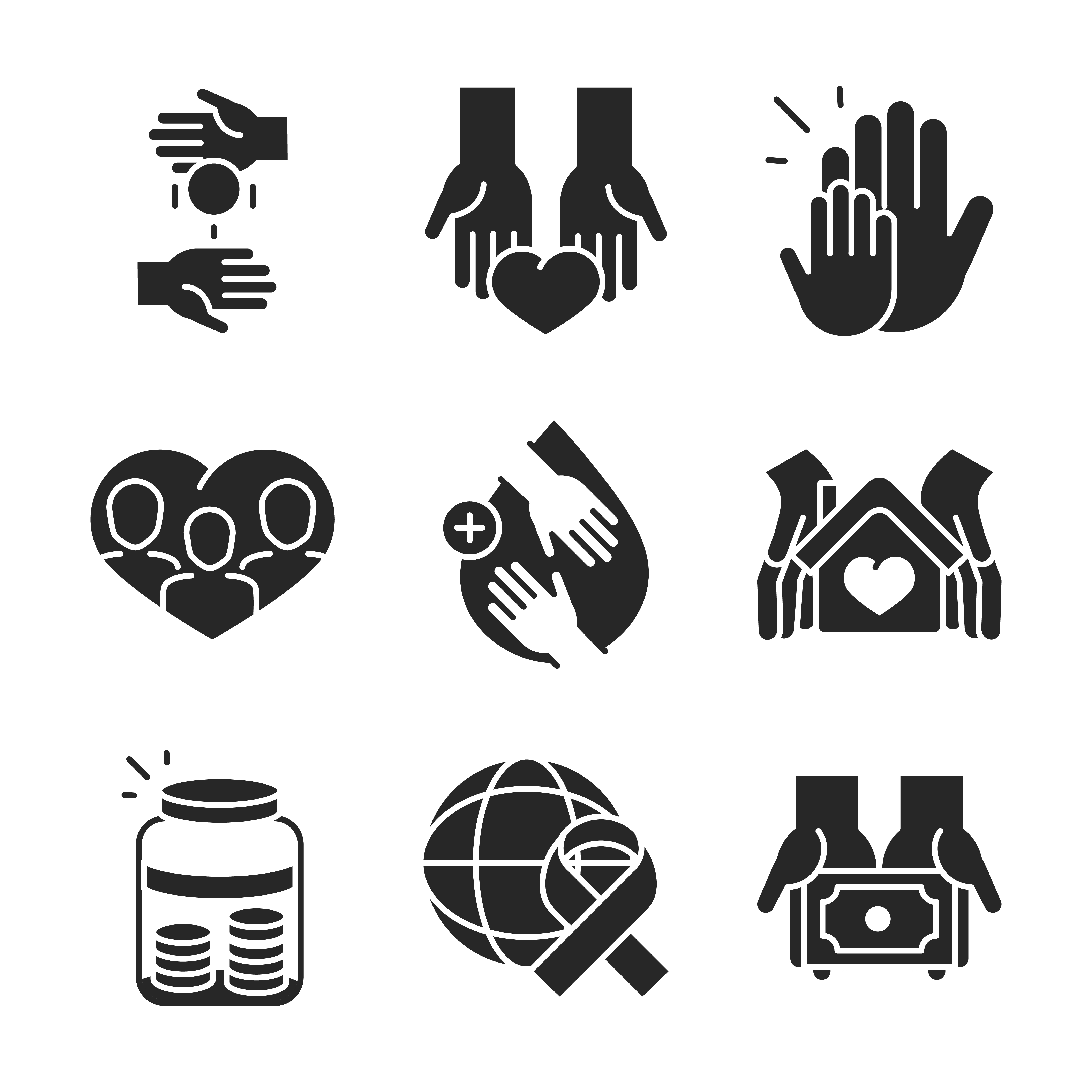 Donation and social assistance icon set