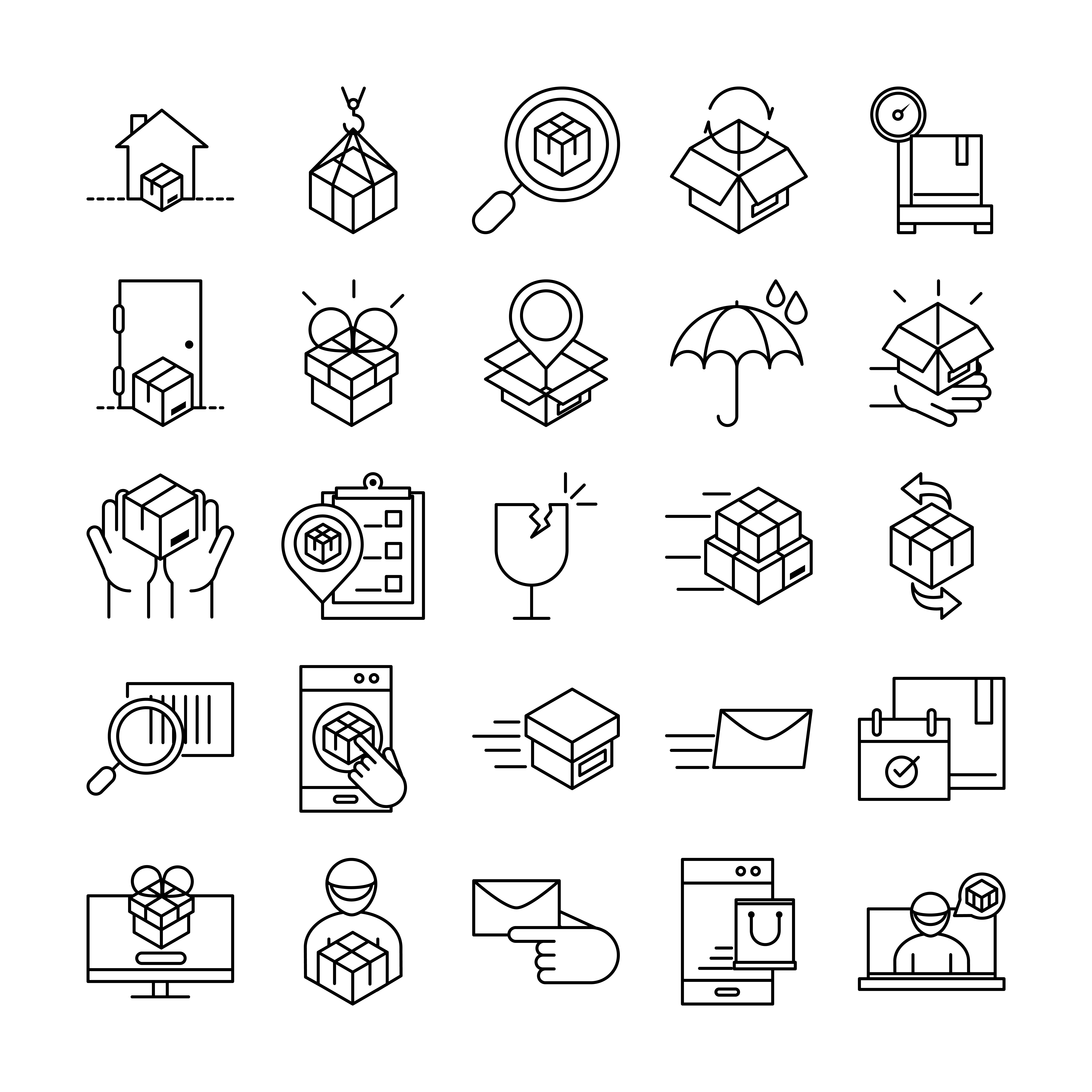 conjunto de iconos de entrega y logística