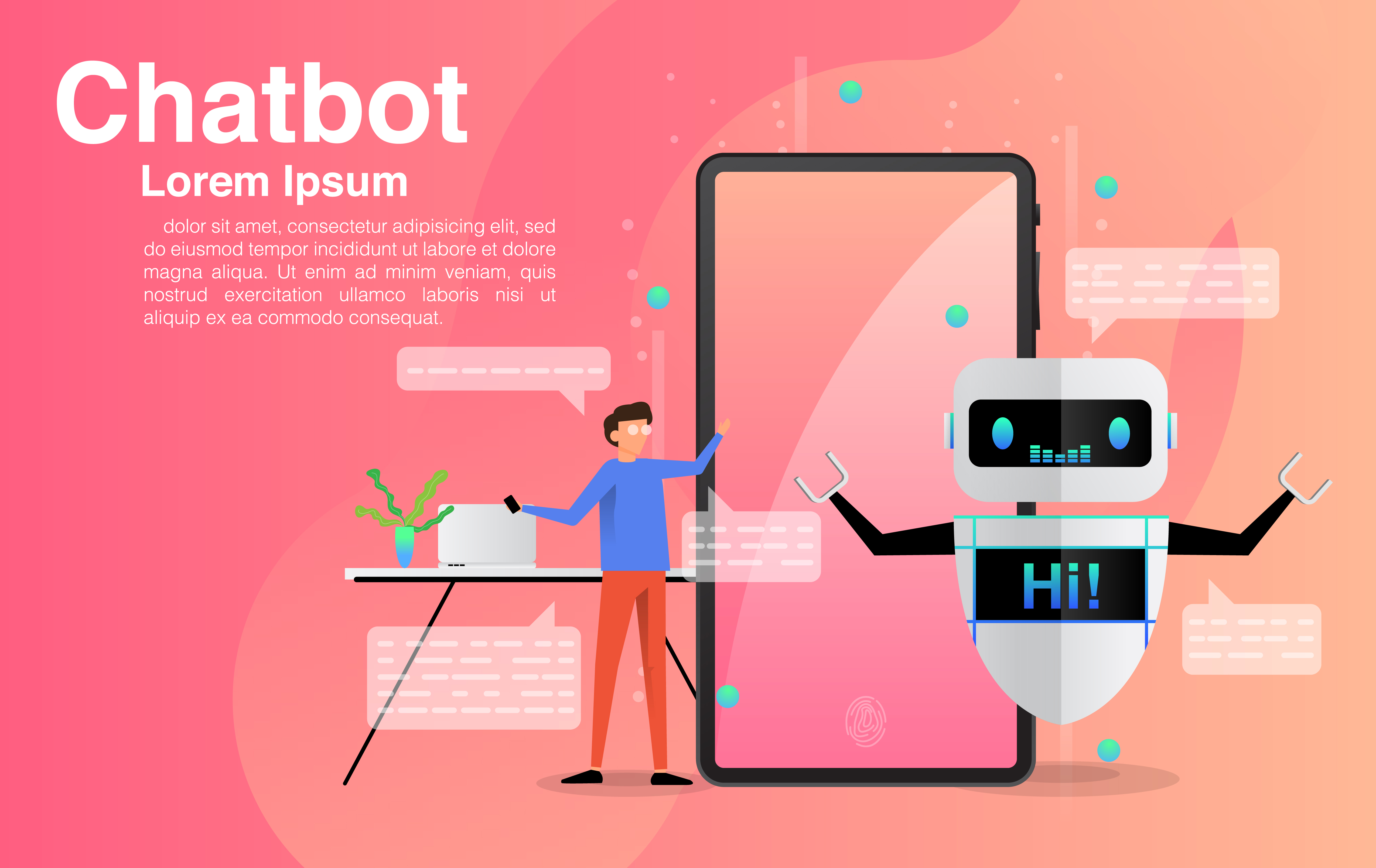 Man Chatting with Chatbot Application vector