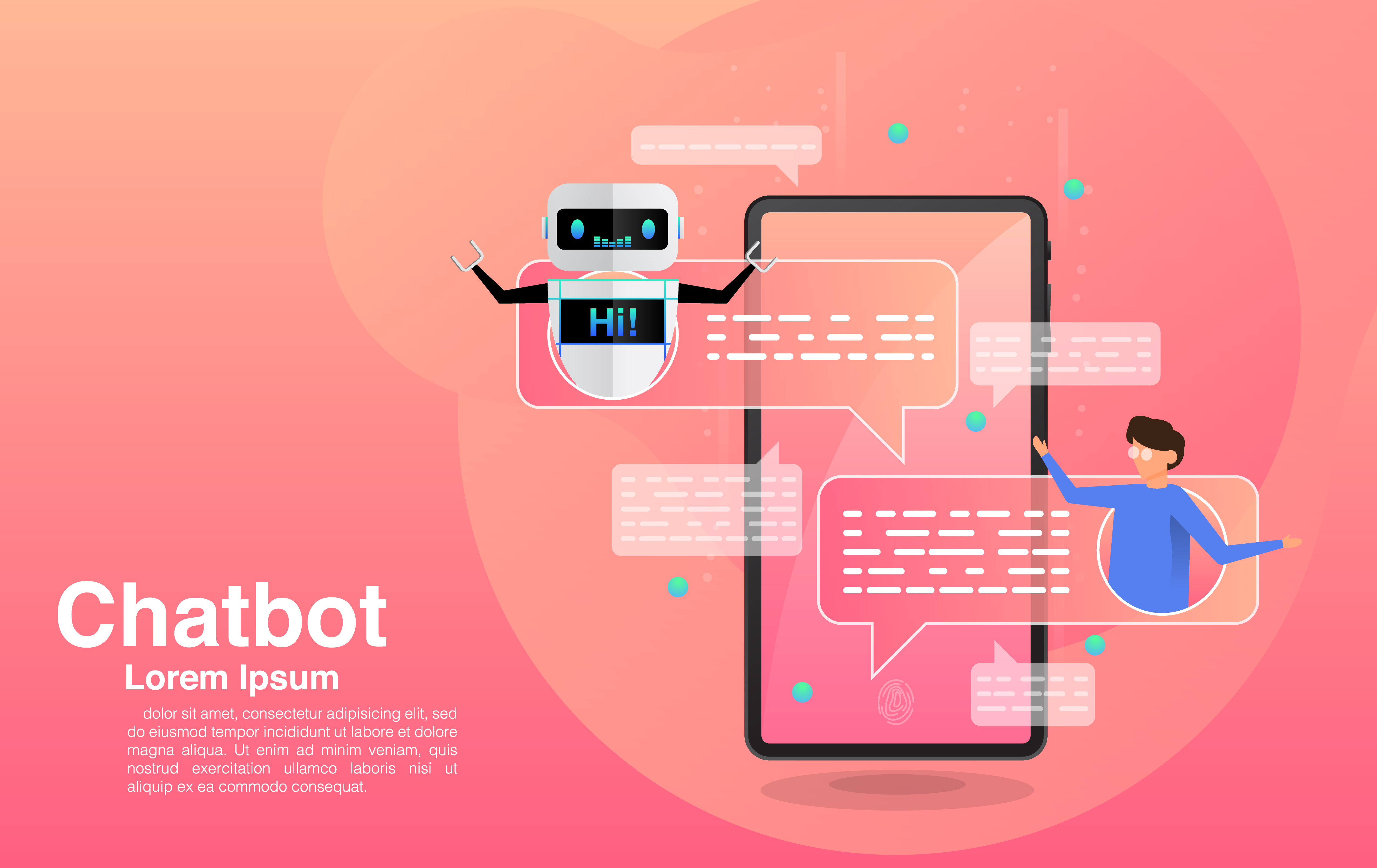 Chatting with Chatbot Application vector