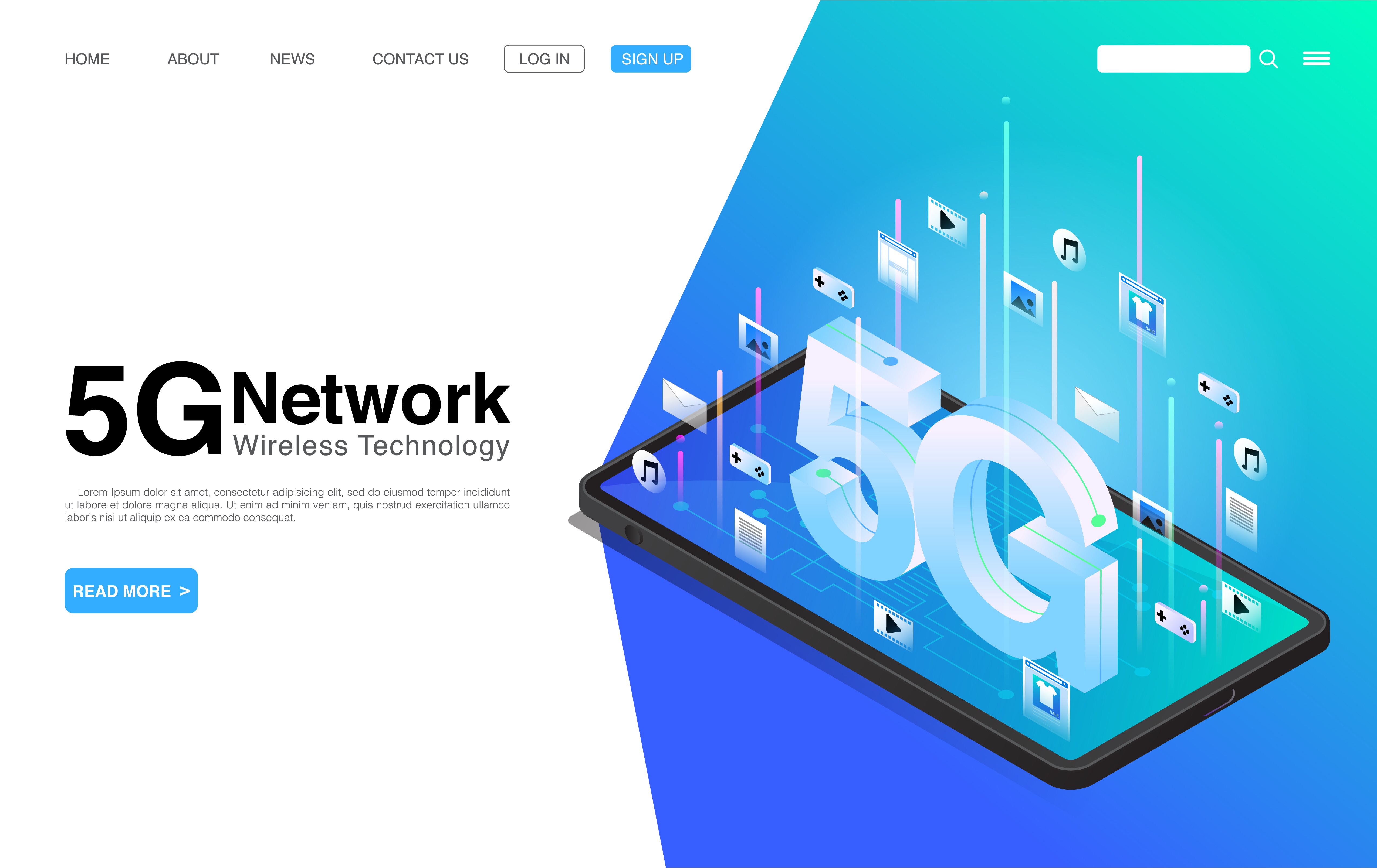 5G Network Wireless Technology on Mobile Phone Landing Page vector