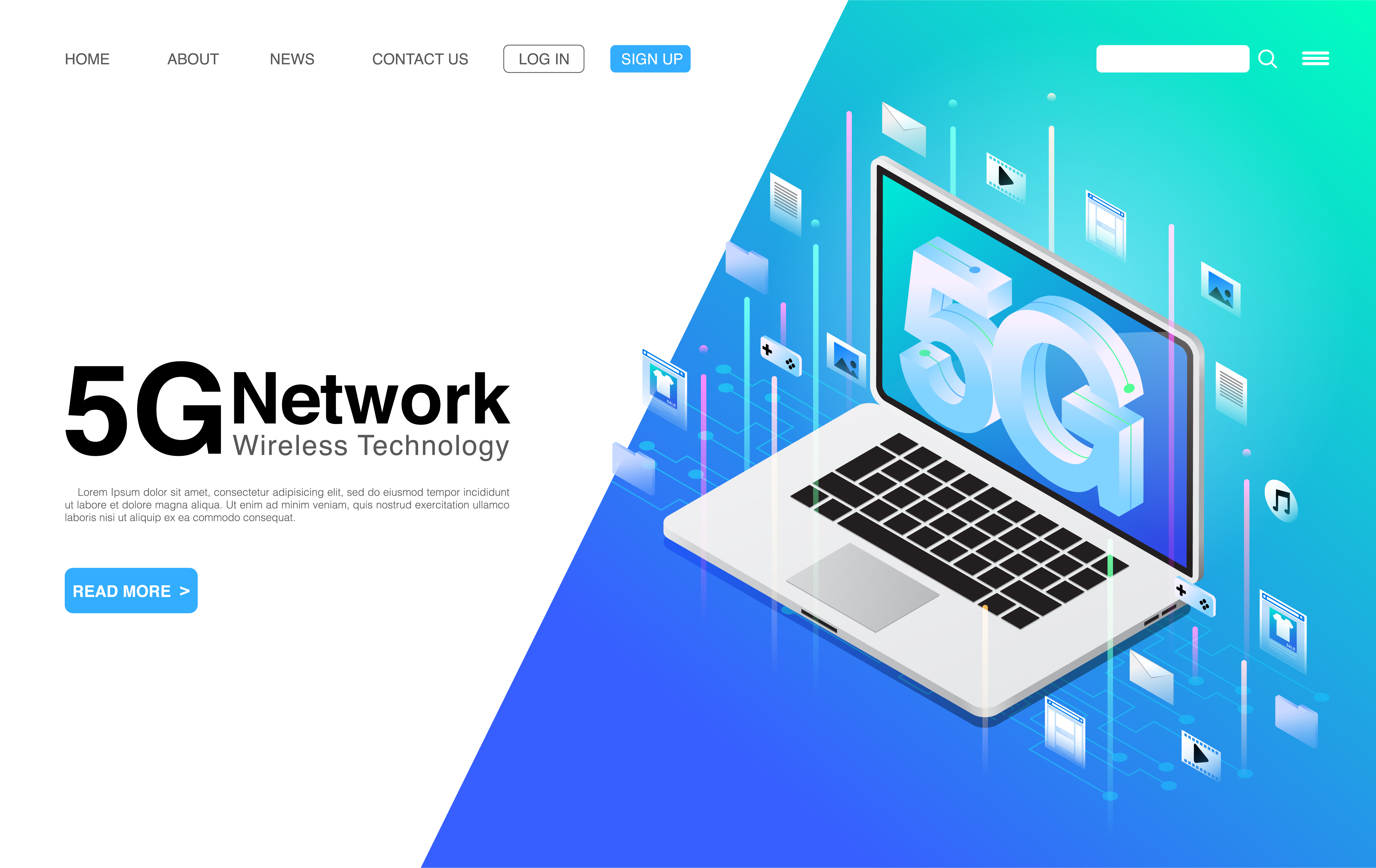 5G Network Wireless Technology on Laptop Landing Page