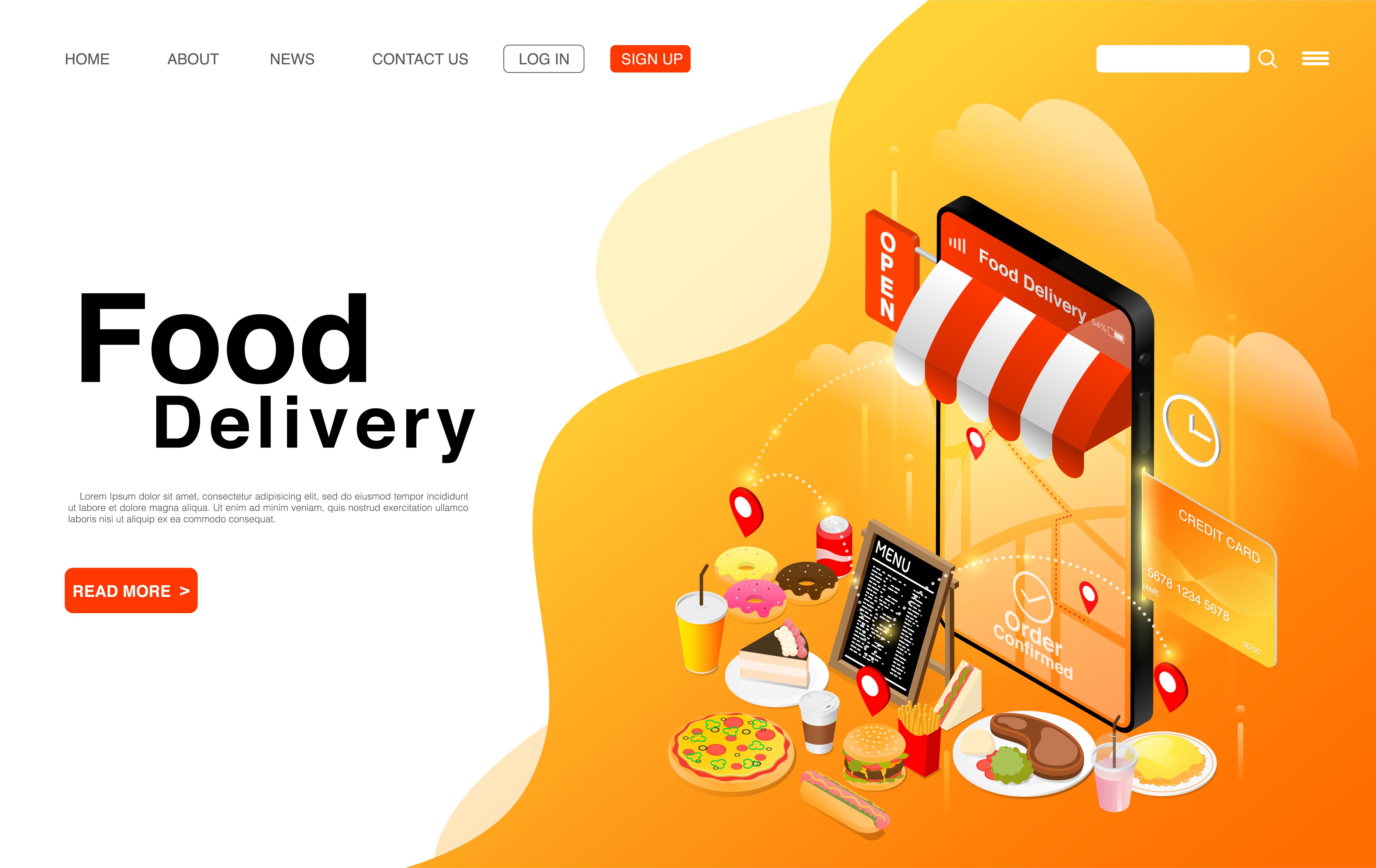página de destino do serviço de entrega de comida online