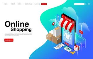 Online Shopping on Mobile Phone Landing Page vector