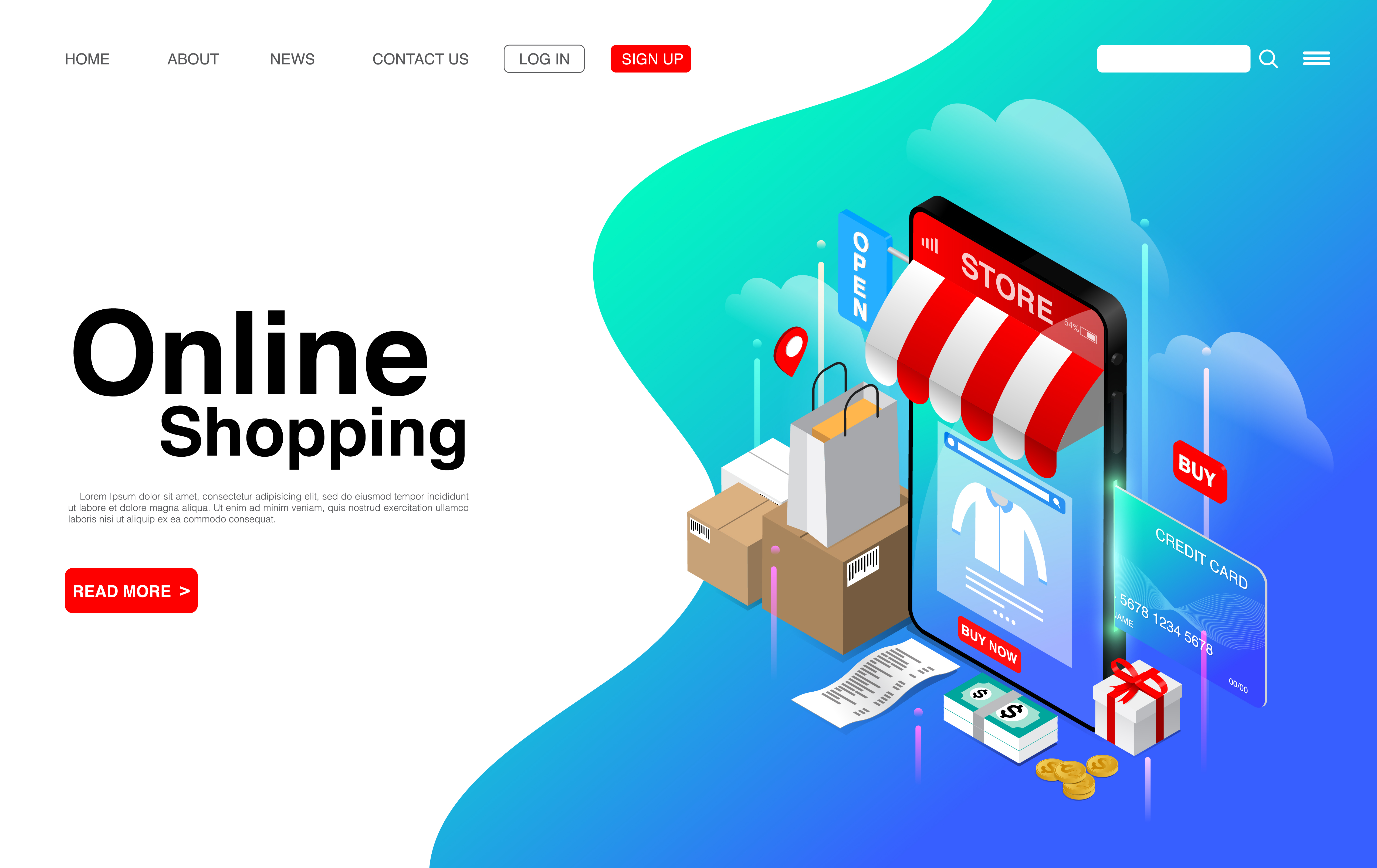 Online Shopping on Mobile Phone Landing Page