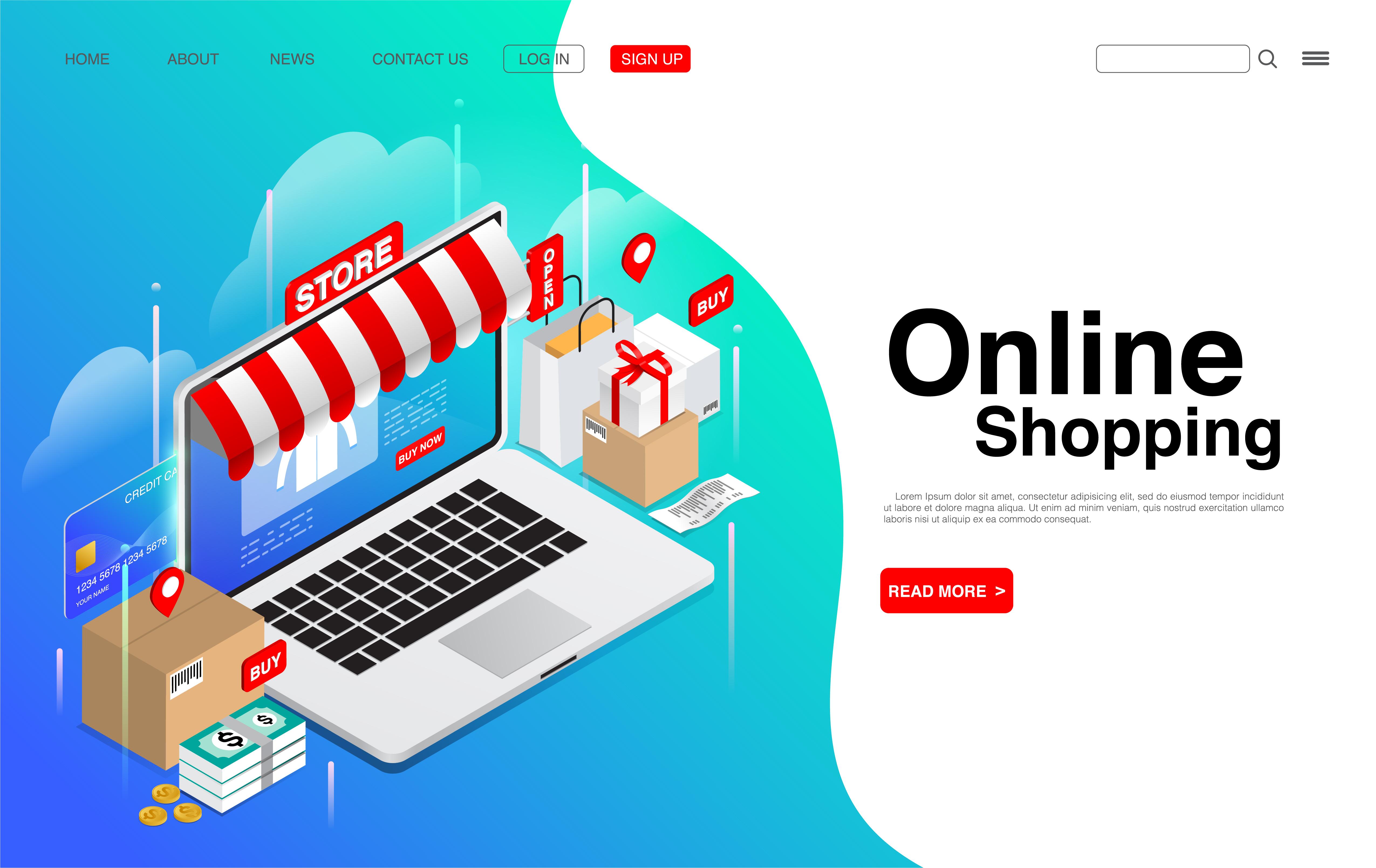 compras en línea en la página de inicio de la computadora portátil