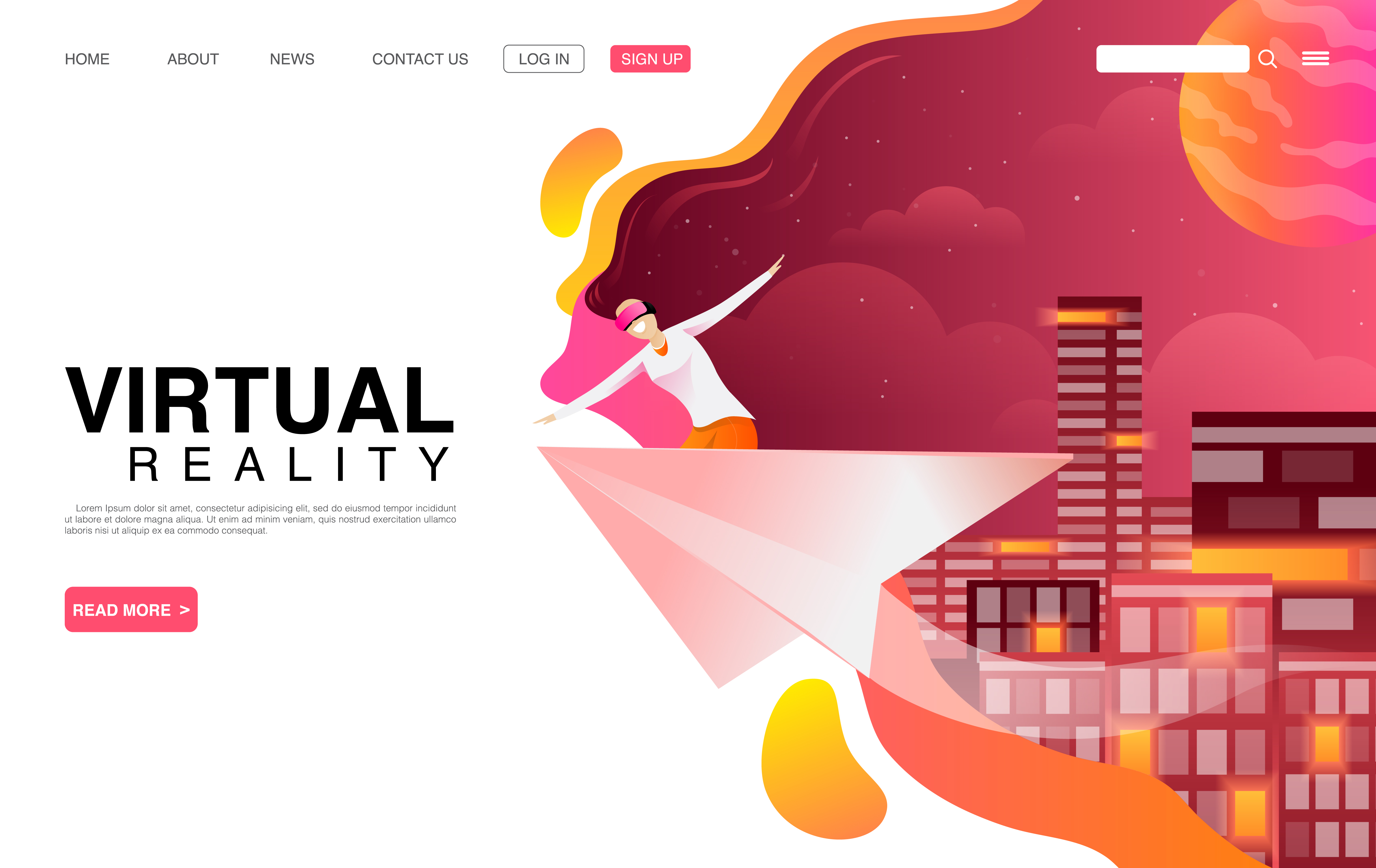 Woman Using VR Technology Landing Page vector