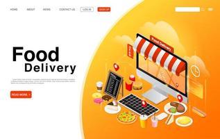 Ordering Food Online on Computer Desktop vector