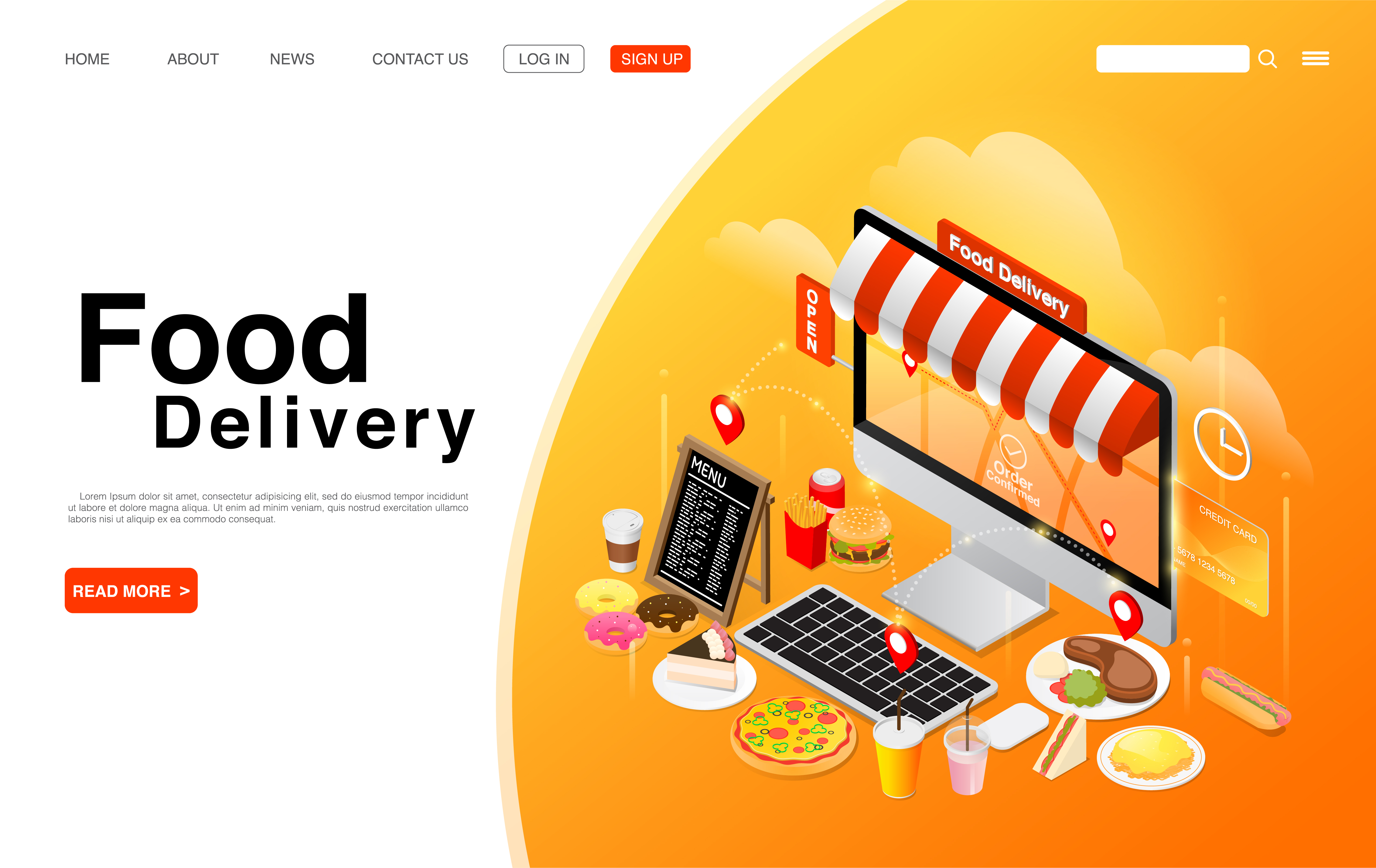 Ordering Food Online on Computer Desktop