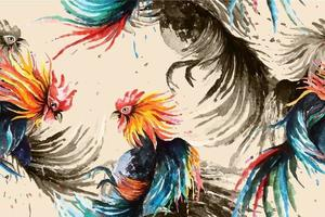 Seamless pattern of fighting rooster painted with watercolor vector