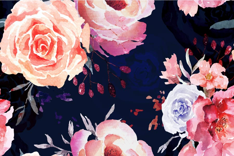 Rose seamless pattern in watercolor style