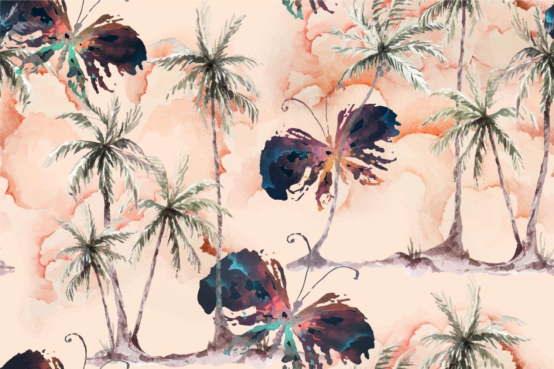 aquarela sem costura padrão de coqueiro e borboleta vetor