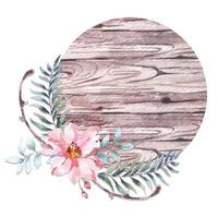 Watercolor circular wooden sign decorated with flowers vector