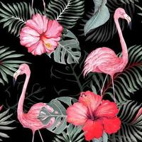 Seamless pattern of flamingo and hibiscus vector