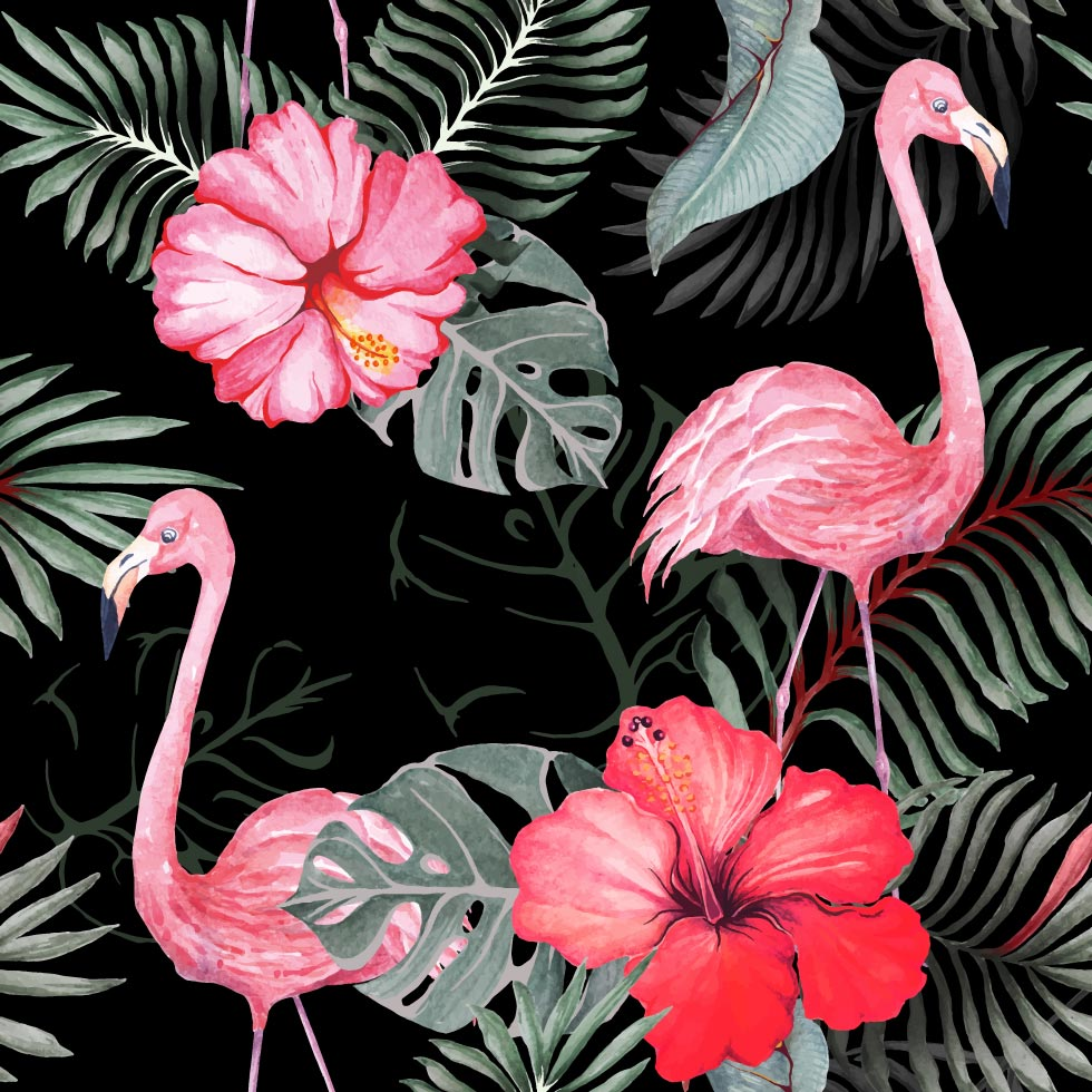 Seamless pattern of flamingo and hibiscus