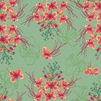 Seamless pattern of peacock flowers vector