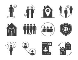 Social distancing and infection control silhouette pictogram set