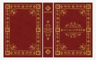 Red and gold ornamental of classical book cover