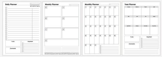 Collection of minimalist life and business planner sheets