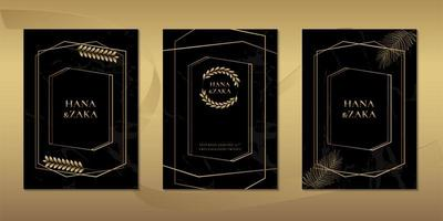 Wedding invitation cards black marble with gold leaves template