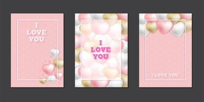 Greeting cards with cute heart balloons