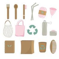 Zero waste reusable household items set vector