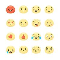 visages souriants jaunes exprimant des émotions positives et négatives