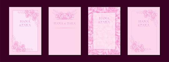 Wedding invitation cards pink rose with frame template