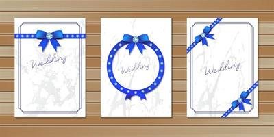 Wedding invitation cards decorated with bows