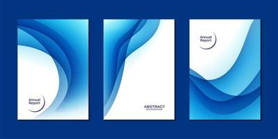 Abstract blue wave shape annual report templates