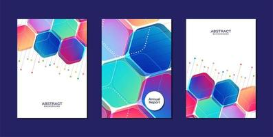 Colorful hexagon shapes annual report cover templates