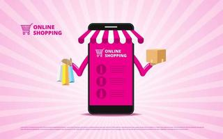 Online shopping concept with smartphone holding items