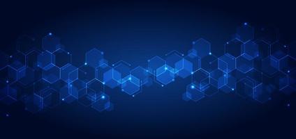 Padrão de hexágonos geométricos azuis de tecnologia abstrata com luzes brilhantes