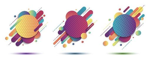 Set of abstract colorful geometric patterned shapes vector