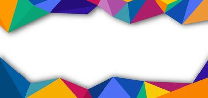 Colorful low poly frame on white vector
