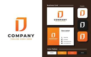Monogram D template and business card vector