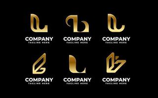 Metallic gold letter L emblem bundle vector