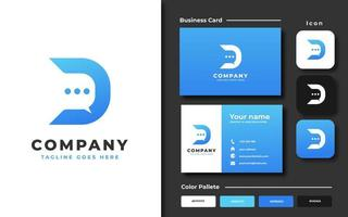 Letter D speech bubble template and business card vector