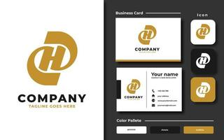 Creative letter H template and business card vector